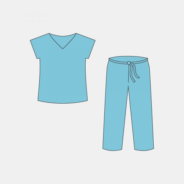 Костюм хирургический – куртка с коротким рукавом и брюки, (размеры: 44-46, 48-50, 52-54, 56-58)