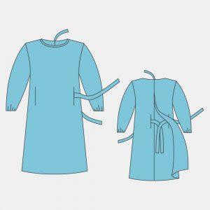 Халат хирургический, 110 см/140 см, рукав на резинке (размеры: 44-46, 48-50, 52-54, 56-58; длина 110/140 см)