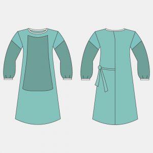 Халат хирургический, 140 см, с влагонепроницаемым передом и рукавами, (размеры: 44-46, 48-50, 52-54, 56-58; длина 140 см; рукав на резинке/манжете)