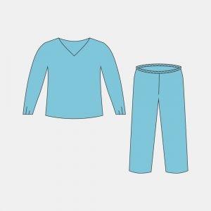 Костюм хирургический – куртка с длинным рукавом  и брюки на резинке, (размеры: 44-46, 48-50, 52-54, 56-58)